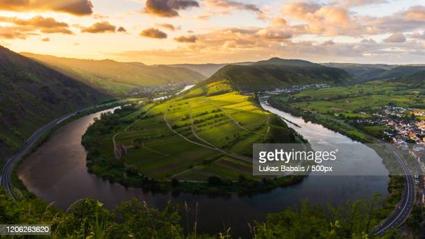 view of moselle bend, bremm, germany - images stock pictures, royalty-free photos & images