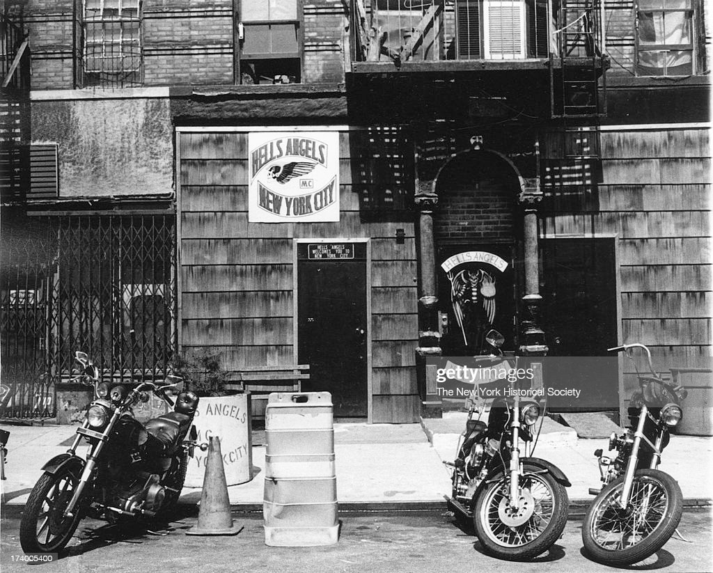 View of motorcycles and the Hell's Angels Headquarters, on Third Street in the East Village, New York, New York, 1985.