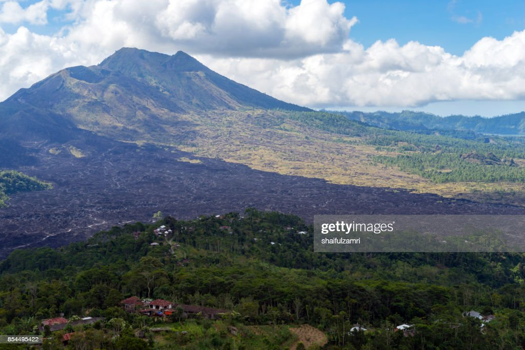 View of Mount Batur in Bali from province of Kintamani : Stock Photo