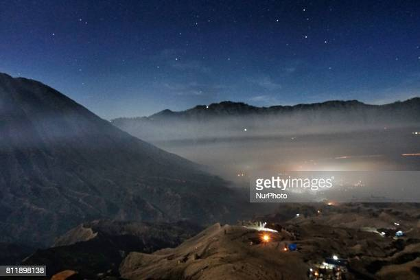 View of Mount Bromo area during Yadnya Kasada Festival is the main festival of the Tenggerese people and lasts about a month On the fourteenth day...