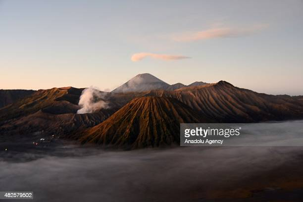 A view of Mount Bromo during the 2015 Yadnya Kasada ritual on July 31 2015 on Mount Bromo East Java Province Indonesia Yadnya Kasada is observed by...