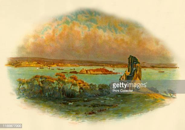 View of Mount Edgcumbe Cornwall looking across Plymouth Sound circa 1890 From Cassell's History of England Special Edition Vol V [Cassell and Company...