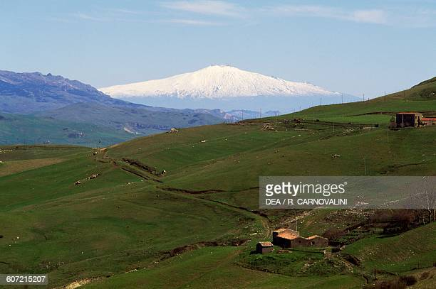 View of Mount Etna from Portella dei Bifolchi Madonie nature park Sicily Italy