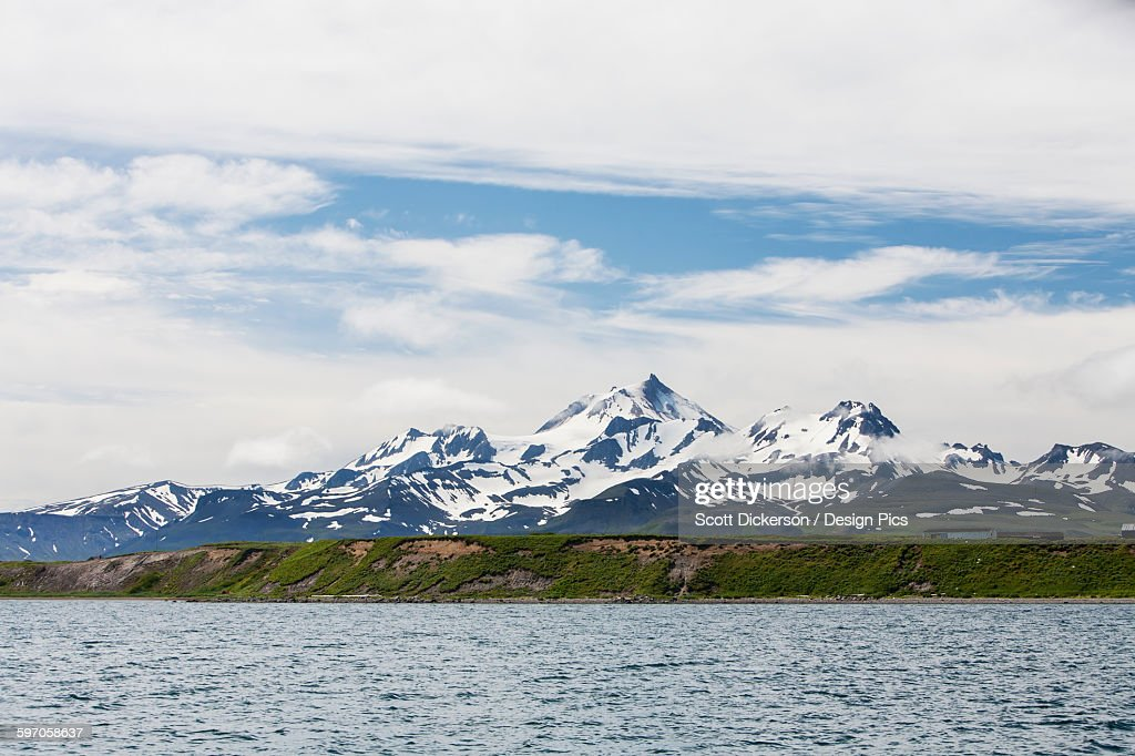View Of Mount Frosty From The Cold Bay Dock, Alaska Peninsula : Stock Photo