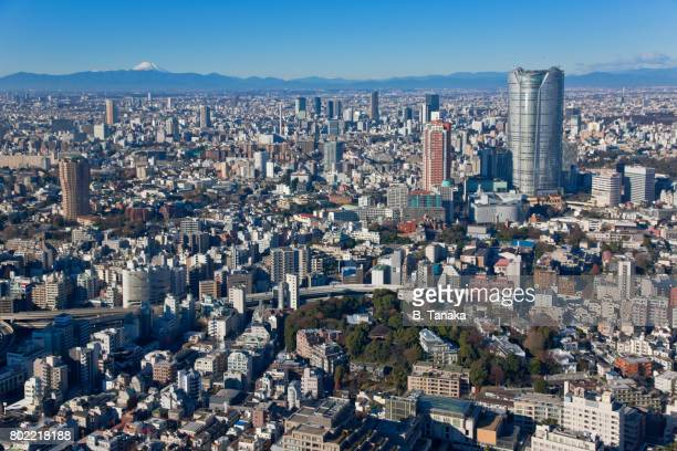 A View of Mount Fuji from Tokyo Tower in Central Tokyo, Japan
