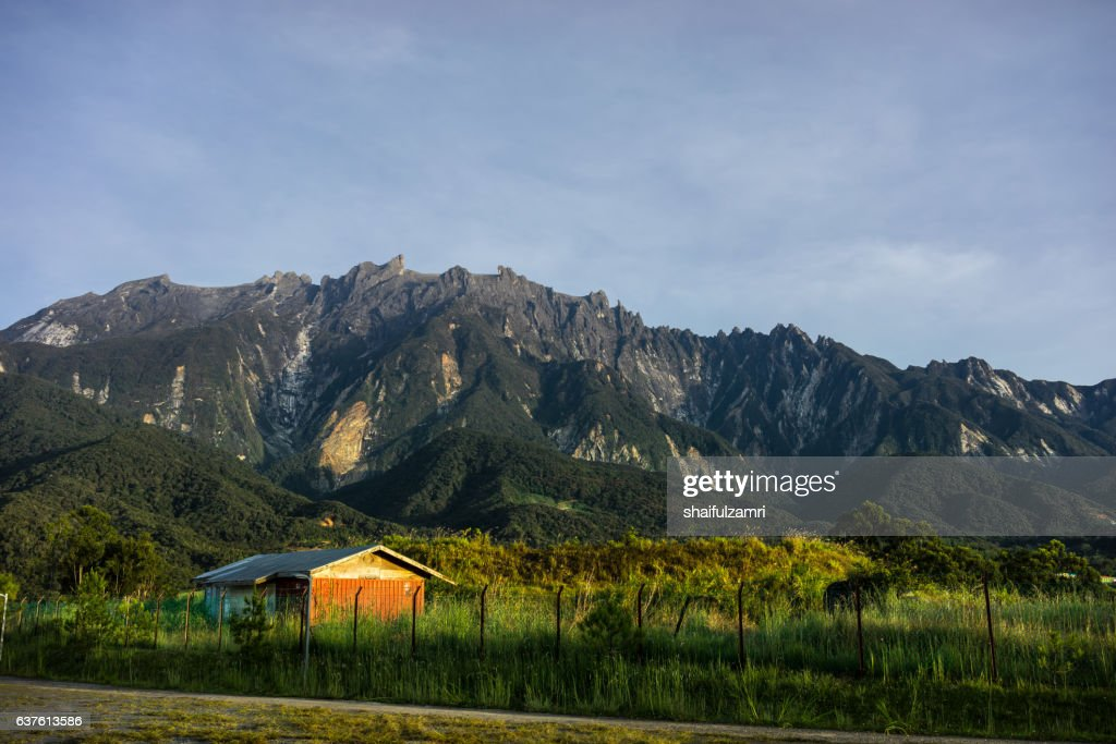 View of Mount Kinabalu from Kundasang village : Stock Photo