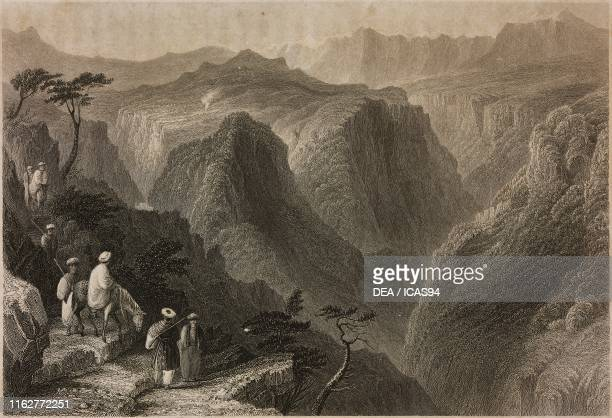 View of Mount Lebanon above the Kadisha Valley Lebanon engraving by M J Starling after a drawing by W H Bartlett from La Siria e l'Asia minore...