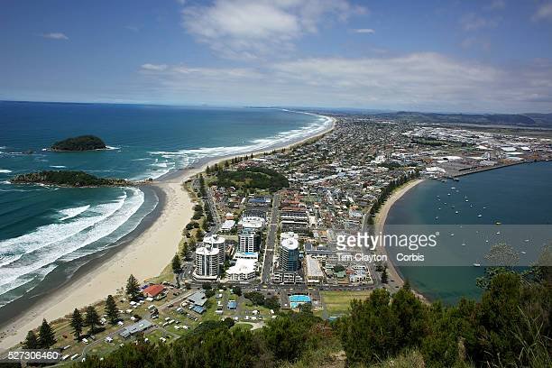 A View of Mount Maunganui Beach taken from top of Mount Maunganui on a fine summers day Mount Maunganui North Island New Zealand