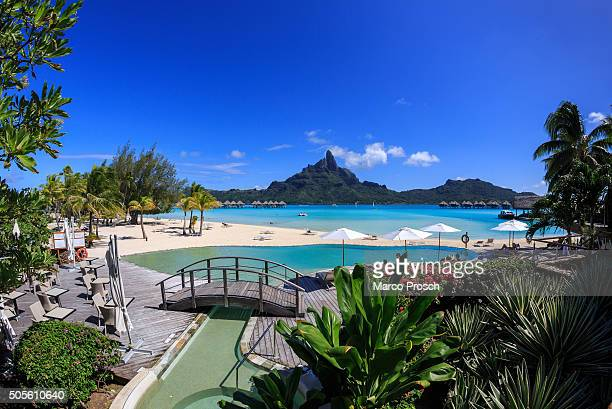 A view of Mount Otemanu from the beach of Hotel Le Meridien on May 20 2014 on Bora Bora French Polynesia