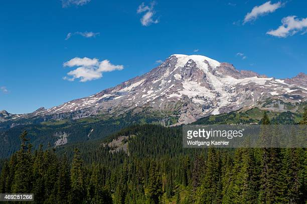 View of Mount Rainier from Pinnacle Peak trail in Mount Rainier National Park, Washington State, USA.