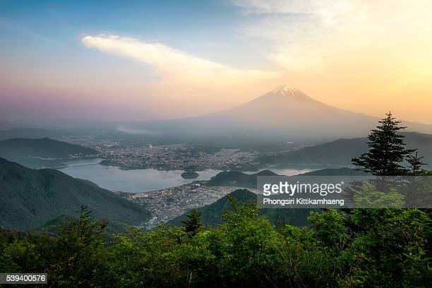 View of Mountain Fuji from Shindotoge view point at twilight