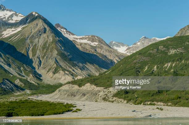 View of mountain landscape with terminal moraine and lateral moraines in Glacier Bay National Park, Alaska, USA.