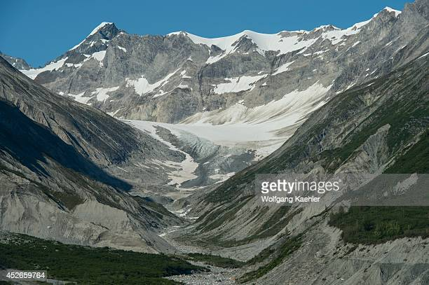 View of mountain landscape with terminal moraine and lateral moraines in Glacier Bay National Park Alaska USA