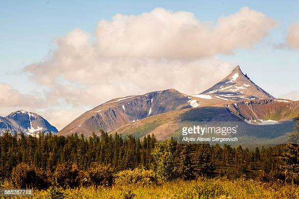 view of mountain peak and forest, ural mountains, russia - summits russia 2015 stock pictures, royalty-free photos & images