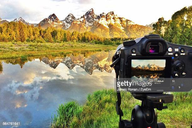 View Of Mountain Seen In Slr Camera Display Screen