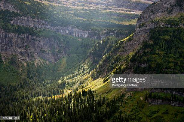 View of mountain slopes from the GoingtotheSun Road near Logan Pass in Glacier National Park Montana United States