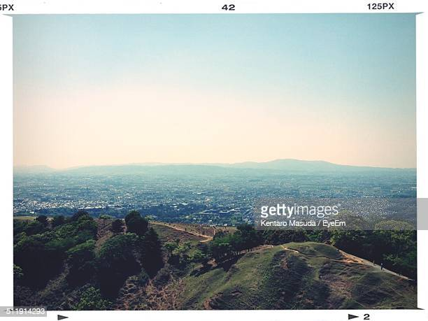 view of mountains against sky - 奈良市 ストックフォトと画像