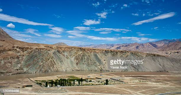 View of mountains an agricultural holding on August 02, 2011 in Leh, east of Srinagar in Ladakh, India.Ladakh is a region within the north-eastern...