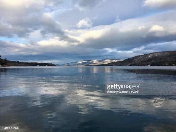 View of mountains and idyllic lake