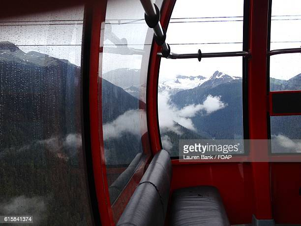 View of mountains from cable car