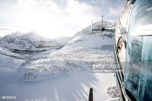 View Of Mountains From Helicopter During Winter