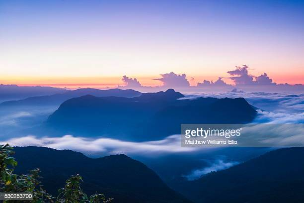 View of mountains from the 2443m summit of Adams Peak (Sri Pada) at sunrise, Central Highlands, Sri Lanka, Asia