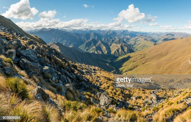 View of mountains, trail to Ben Lomond, Southern Alps, Otago, South Island, New Zealand