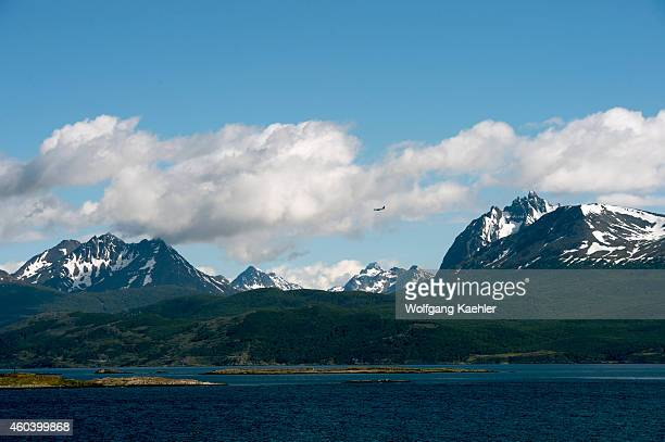 View of mountains with Mount Olivia and the Beagle Channel near Ushuaia Tierra del Fuego Argentina