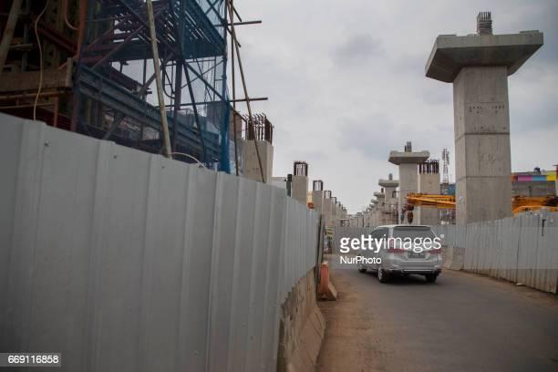 A view of MRT Development at Fatmawati Street area in Jakarta on April 16 2017 Mas Rapid Transportation at Jakarta scheduled will operate on mid of...