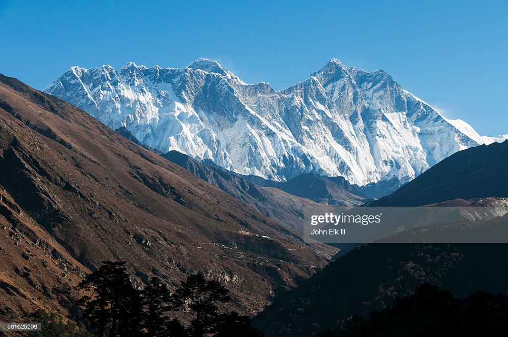 View of Mt Everest and Lhotse : Stock Photo