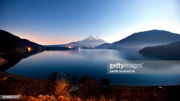 View of Mt. Fuji  at  Motosuko lake, Japan.