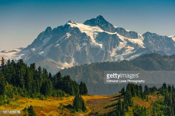 view of mt. shuksan from the excelsior ridge trail. - cascade range stock pictures, royalty-free photos & images