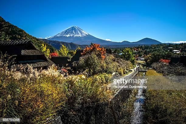 View of Mt.Fuji over Saiko Iyashi-no Sato Nenba, Fujikawaguchiko Town, Japan