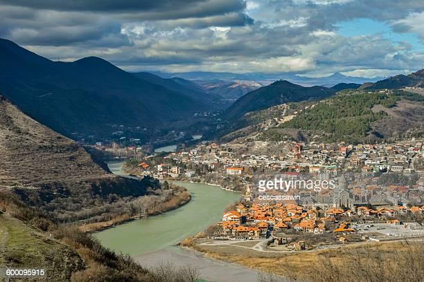 view of mtskheta from jvari monastery. georgia. - georgia country stock pictures, royalty-free photos & images