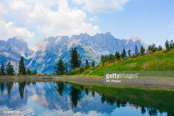 view of mt.wilder kaiser, astberg, going, tyrol, austria - august stock pictures, royalty-free photos & images