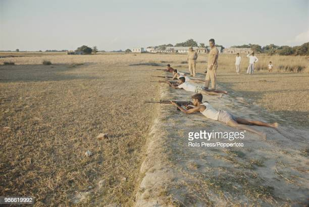View of Mukti Bahini liberation army troops undergoing rifle training on a rifle range in a liberated area of East Pakistan in November 1971 Pakistan...