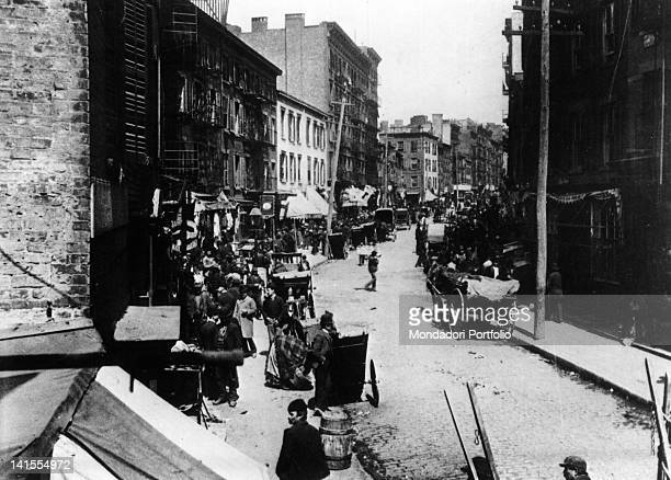 View of Mulberry Street in New York's Little Italy neighbourhood New York 1895