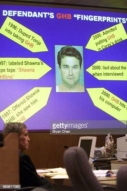 View of multimedia presentation during final arguments against fugitive Andrew Luster in Ventura County Superior Court Judge Ken Riley's courtroom in...