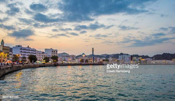 view of muscat, oman from the water - muscat governorate stock pictures, royalty-free photos & images