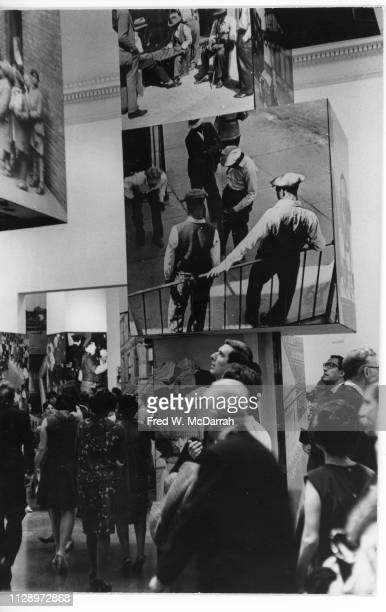 View of museum goers in the Metropolitan Museum of Art during the 'Harlem on My Mind Cultural Capital of Black America 1900 1968' exhibition New York...