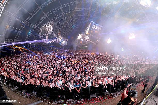 A view of music fans as DJ KSHMR performs onstage during day 3 of the 2016 Coachella Valley Music And Arts Festival Weekend 1 at the Empire Polo Club...