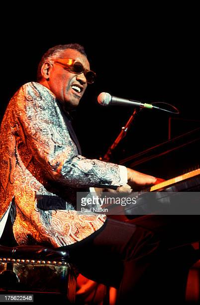View of musician Ray Charles performing at AllState Arena Chicago Illinois March 22 1985