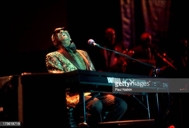 View of musician Ray Charles performing at Petrillo bandshell Chicago Illinois June 6 1998