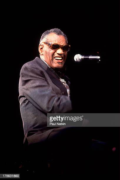 View of musician Ray Charles performing at Star Plaza Theater Merillville Indiana May 13 1983