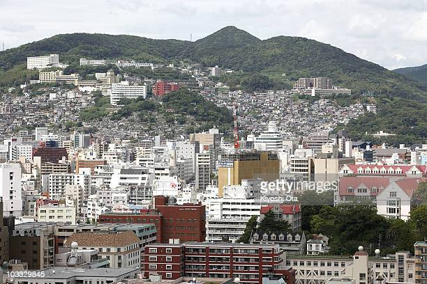 View of Nagasaki City is seen from Glover Garden, where exhibits mansions of former Western residents in Nagasaki, on August 10, 2010 in Nagasaki,...