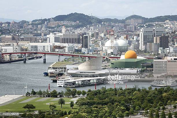 View of Nagasaki City with Nagasaki Port Terminal is seen from Glover Garden, where exhibits mansions of former Western residents in Nagasaki, on...
