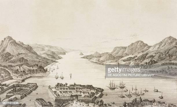 View of Nagasaki Japan engraving by Lemaitre from Japon IndoChine Empire Birman Sima Annam Peninsule Malaise etc Ceylan by AdolphePhilibert Dubois de...