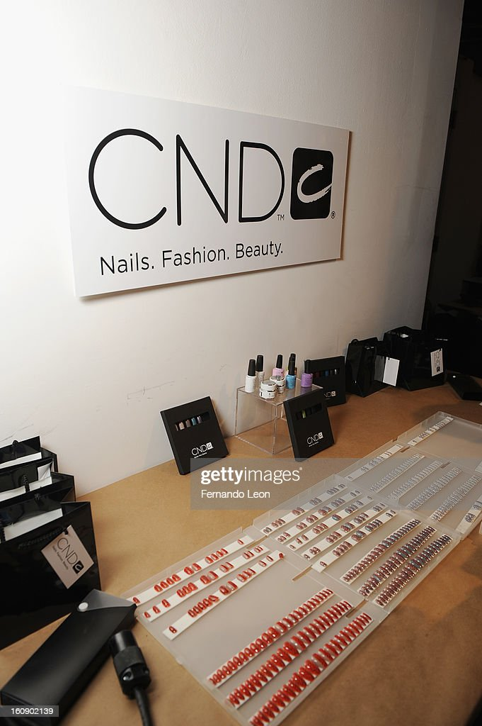 A view of nails created by CND for Creatures of the Wind: New York Fashion Week Fall/Winter 2013 at Eyebeam Gallery on February 7, 2013 in New York City.