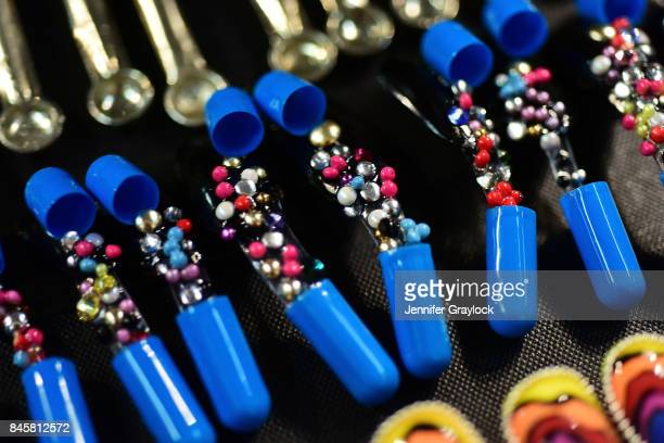View of nails on display backstage - CND for Libertine Spring/Summer 2018 during New York Fashion Week at Skylight Clarkson Sq on September 11, 2017...