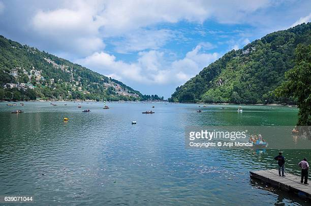 View Of Nainital Lake Surrounded By Mountains And Blue Sky